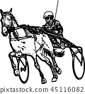 Trotter in harness drawing 45116082