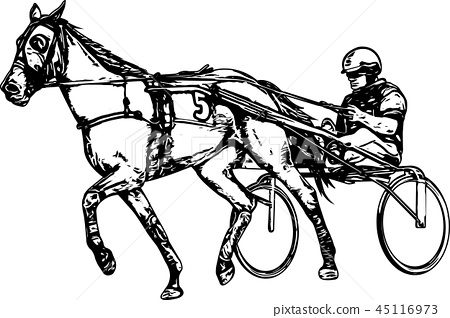 Trotter in harness drawing 45116973
