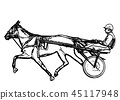 Trotter in harness drawing 45117948
