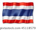 Thai flag isolated on white 45118579