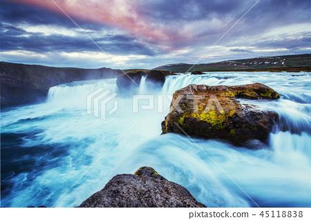 Godafoss waterfall at sunset, Iceland, Europe 45118838