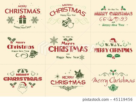Set of Merry Christmas Label 45119456