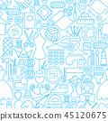 Handmade Line Seamless Pattern 45120675
