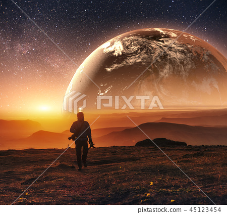 Realistic 3D Earth Lyustration. Courtesy of NASA. Man in Space.  45123454