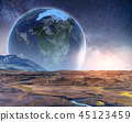 Realistic 3D Earth Lyustration. Courtesy of NASA. Fantastic star 45123459