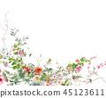 ดอกไม้,ใบไม้,สีน้ำ 45123611