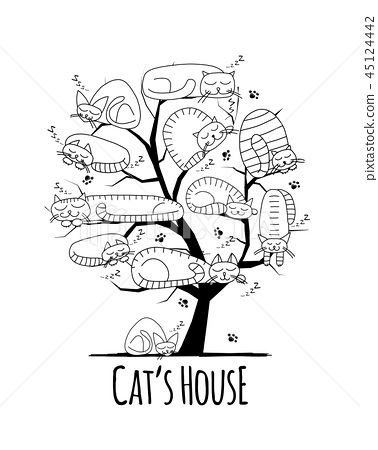 Tree with sleeping cats, sketch for your design 45124442