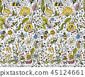 Abstract floral pattern with bees, sketch 45124661