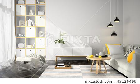 Interior modern design room 3D illustration 45126499