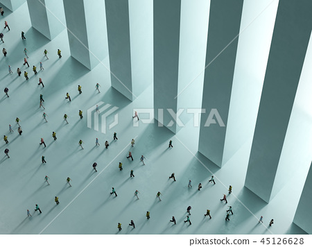 People walking against white background top view 45126628