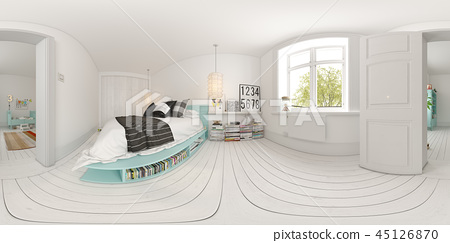 Spherical 360 Panorama Bedroom Interior Design Stock Illustration 45126870 Pixta