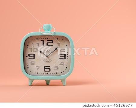 Blue clock on pink background 3D illustration 45126977