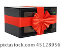 Microwave oven with ribbon and bow, gift concept 45128956
