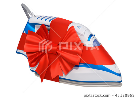 Gift concept, electric steam iron with red ribbon 45128965