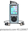 Digital audio player with earphones. 3D rendering 45128967