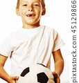 little cute boy playing football ball isolated on white close up 45129866