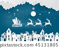 Illustration of Santa Claus on the sky  45131805