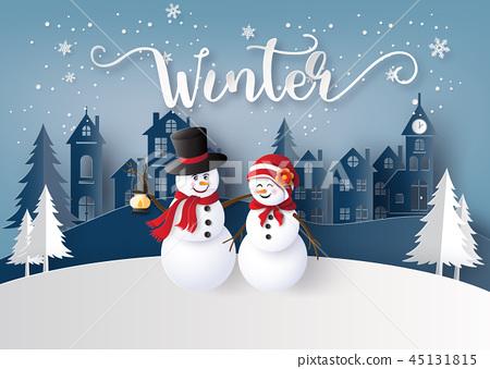 Winter season and Merry Christmas with snow man 45131815