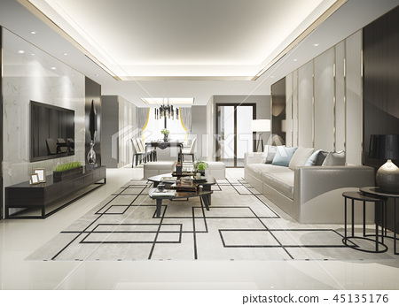 modern dining room and living room with decor 45135176