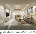 luxury and modern living room and dining room 45135178