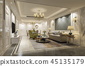 luxury and modern living room and dining room 45135179