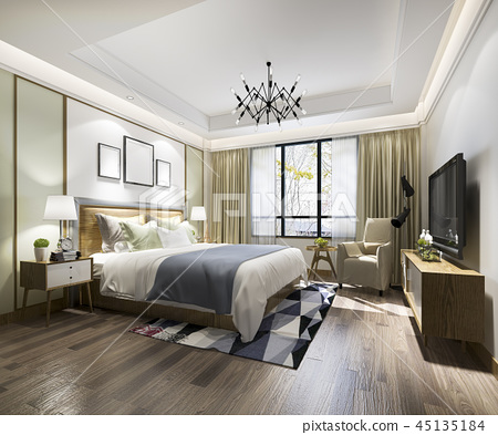 beautiful luxury bedroom suite in hotel with tv 45135184