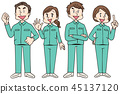 Group of men and women wearing work clothes 45137120