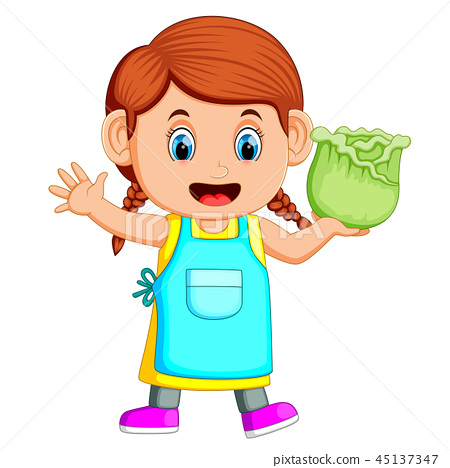 A girl holding fresh cabbage 45137347