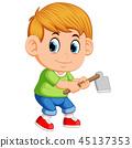 Little boy with garden hoe 45137353