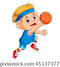 Boys Playing Basketball Sport 45137377