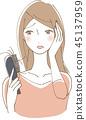 掉頭髮關心婦女例證 45137959