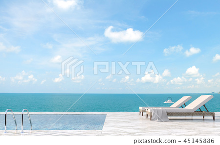 Luxury pool terrace with sea view 3d render 45145886