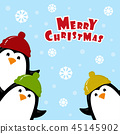 Christmas card with penguin 45145902