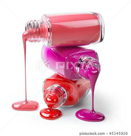 Nail polish of a different colors in stack spilled 45145920