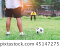 Student football  player penalty shooting  45147275