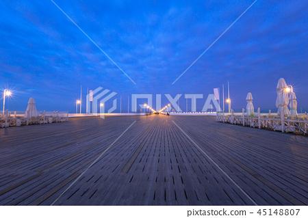 The Sopot pier by Baltic Sea pier at dusk, Poland 45148807