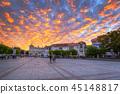 sunset, town, dusk 45148817