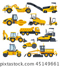 Excavator road construction vector digger or bulldozer excavating with shovel and excavation 45149661