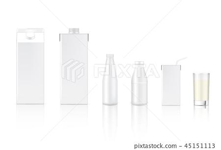 3D Mock up Realistic Milk Carton Box Bottle 45151113