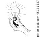 Vector Artistic Drawing Illustration of Hand Holding Light Bulb 45151437