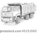 Vector Sketch Drawing Illustration of Dump Truck 45151503