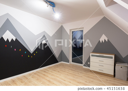 Kids bedroom with mountains chalkboard paint 45151638