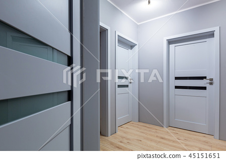 Renovated gray hall with new doors 45151651