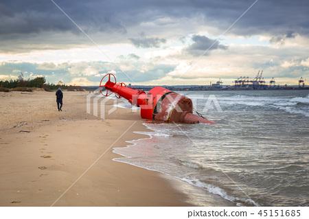 Sea mark buoy on the beach of Baltic sea, Poland 45151685