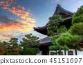sunset, temple, japanese 45151697