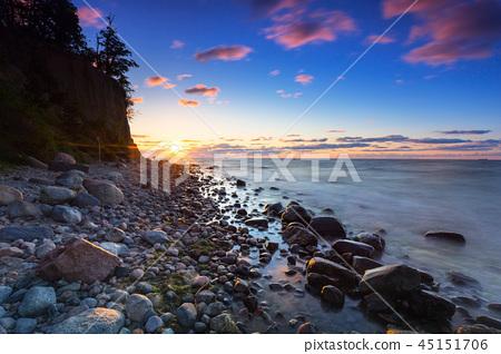 Sunrise at Baltic sea in Gdynia Orlowo, Poland 45151706