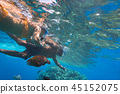 Woman at snorkeling in Red Sea, Egypt 45152075