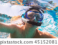 Woman at snorkeling in Red Sea, Egypt 45152081