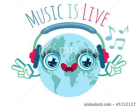 Vector illustration of a Earth with headphones 45152117
