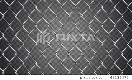 Seamless  realistic chain link fence background.  Vector mesh is 45152475
